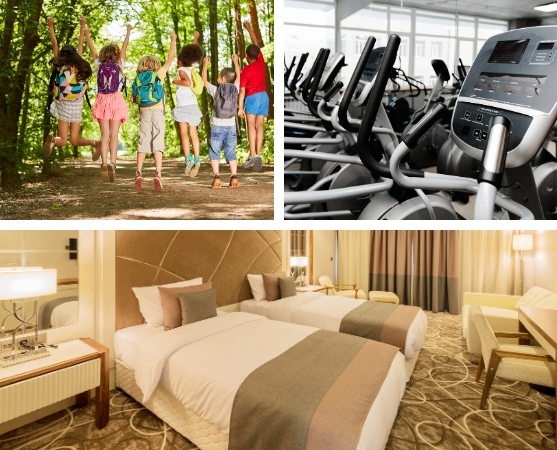 summer camp, treadmills in a gym and a hotel room