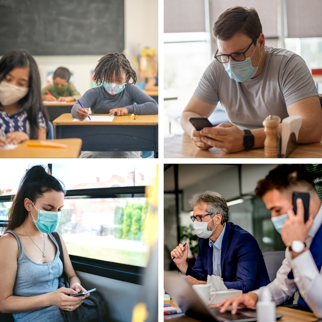 image of individuals wearing a mask in various indoor settings - class, restaurant, bus and office