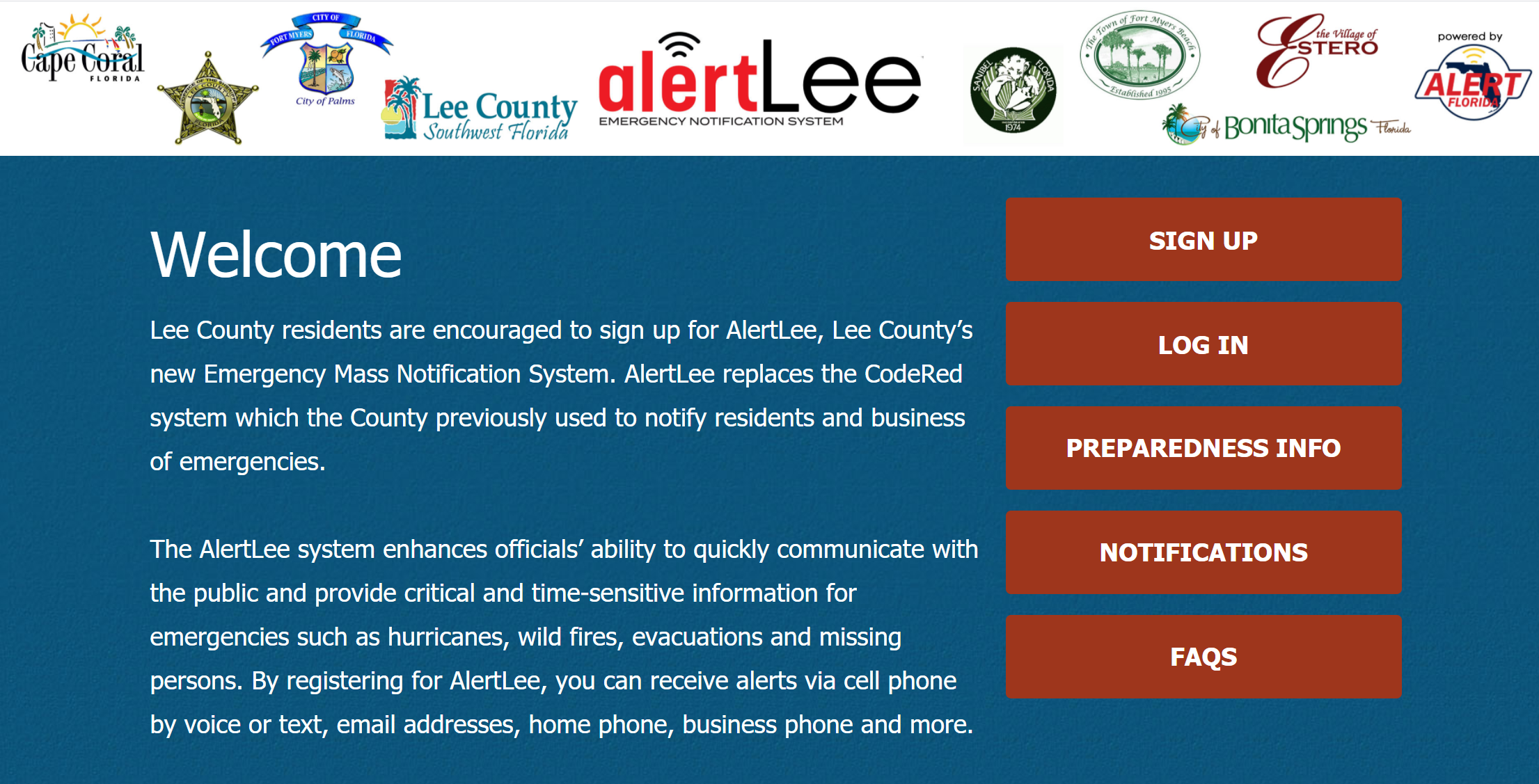 Alert Lee is Lee County's emergency notification system.