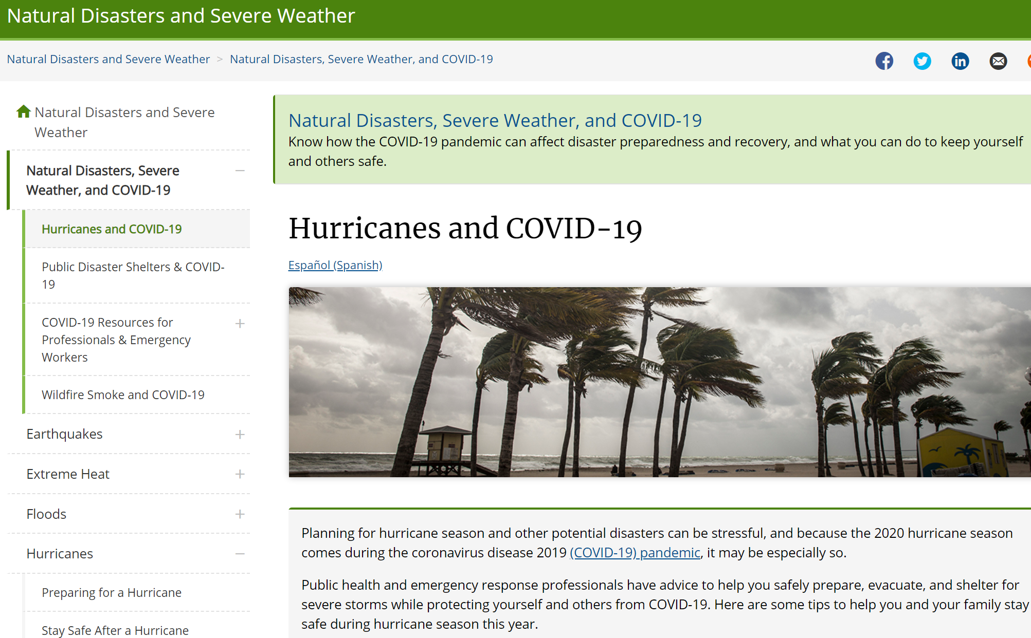 The CDC's guidelines on how to stay safe during COVID-19 and a hurricane.