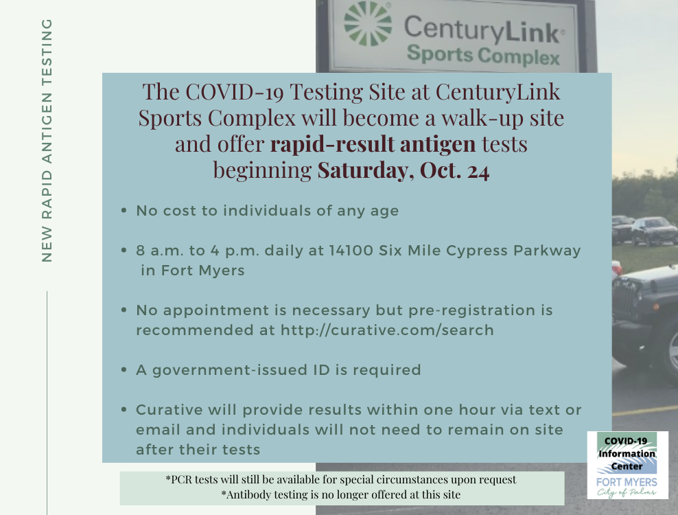 The COVID-19 testing site at Century Link sport complex is now a rapid results antigen test site.