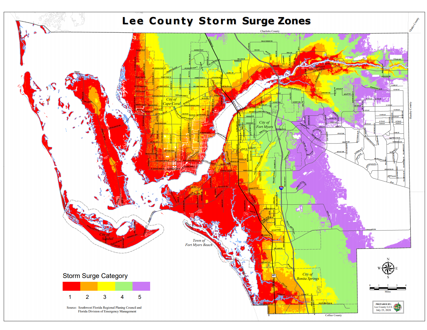 Storm Surge zones in Lee county