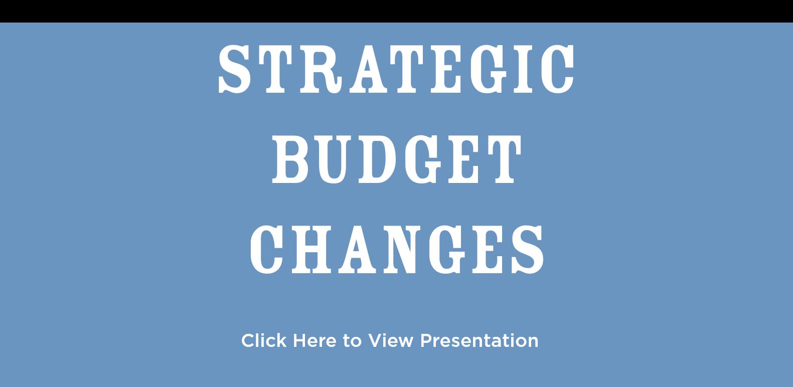 Strategic Budget Changes