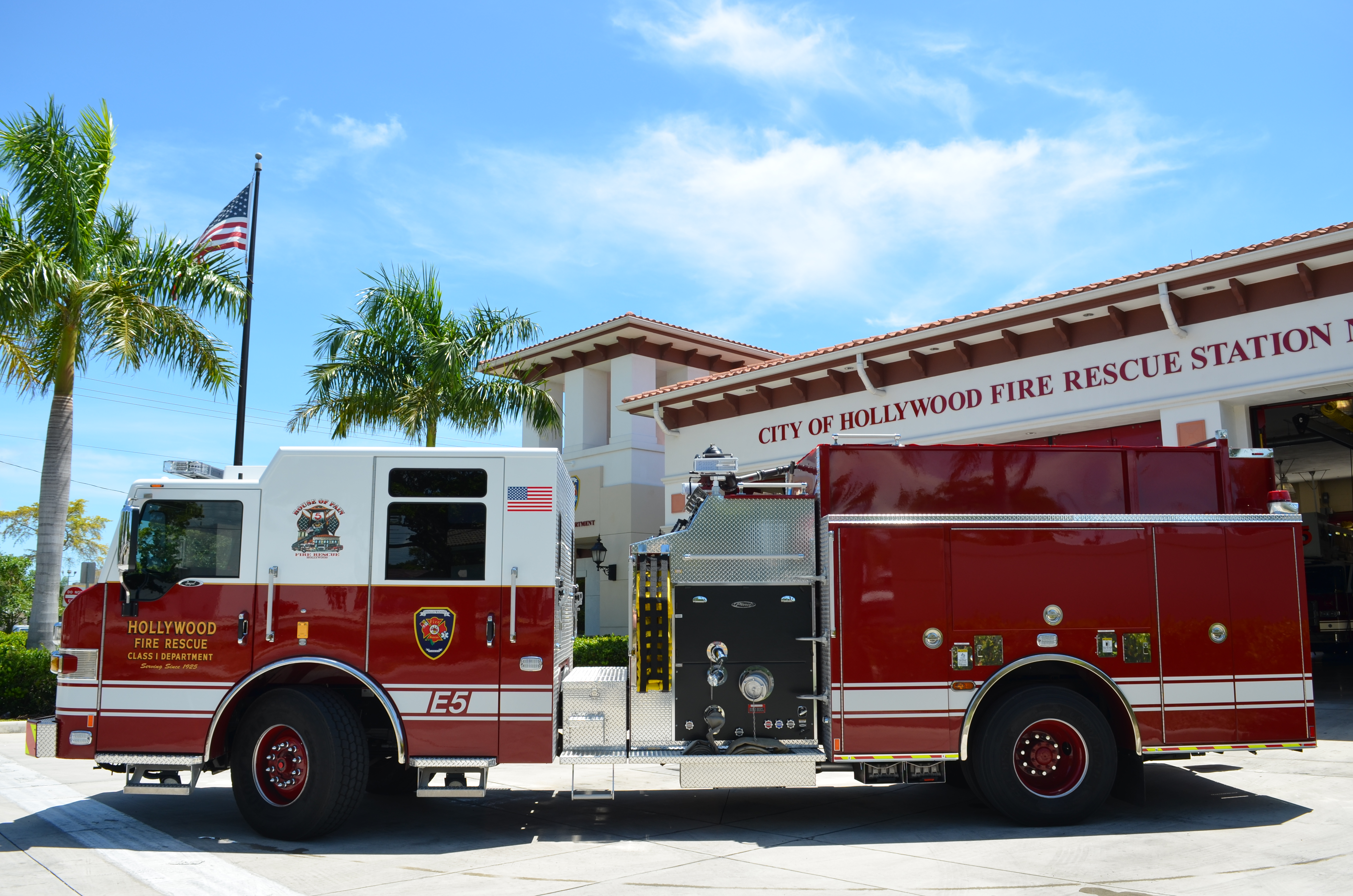 Hollywood Fire Department Fire Truck outside a city rescue station