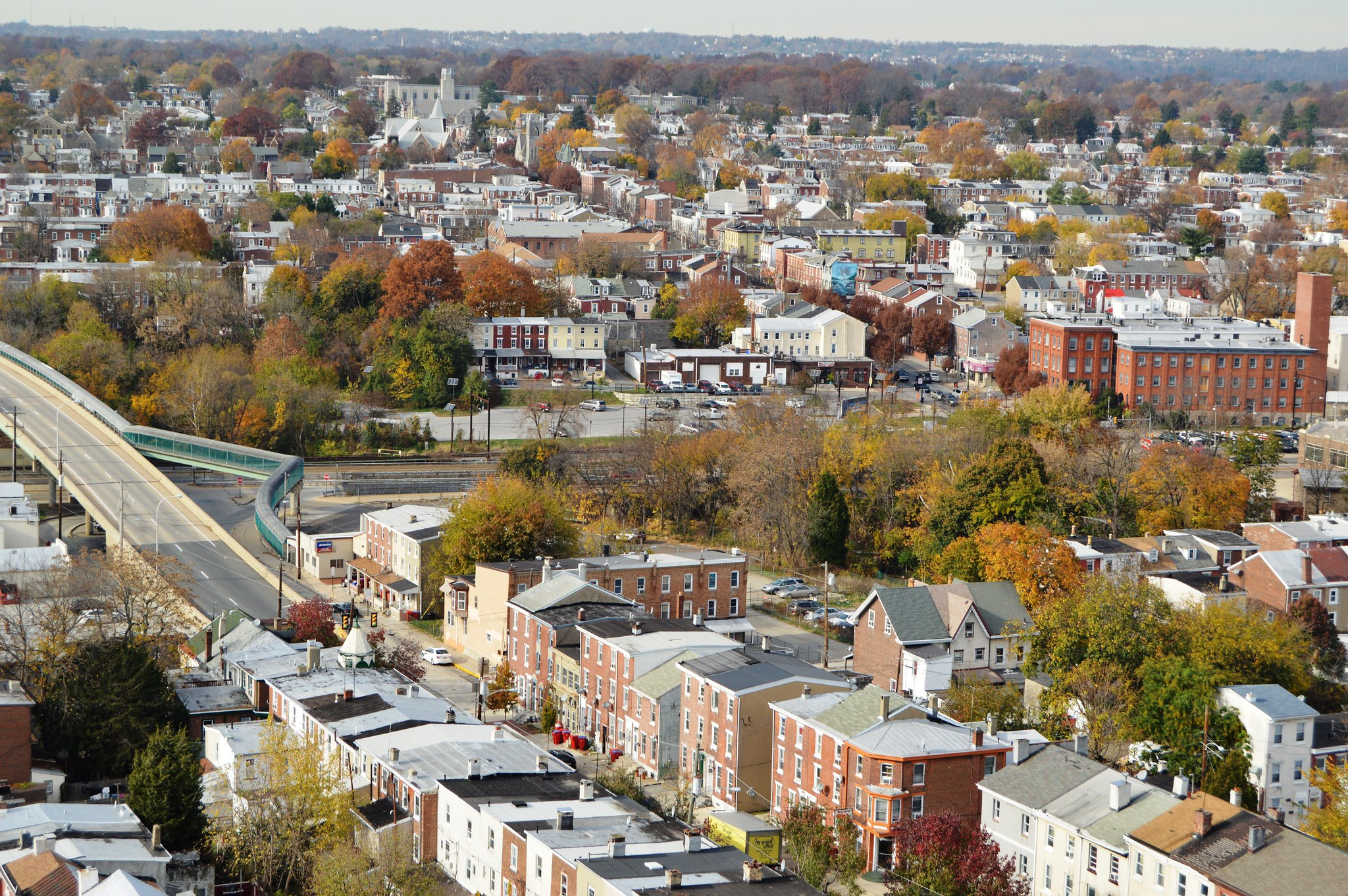 Aerial shot of Norristown, PA