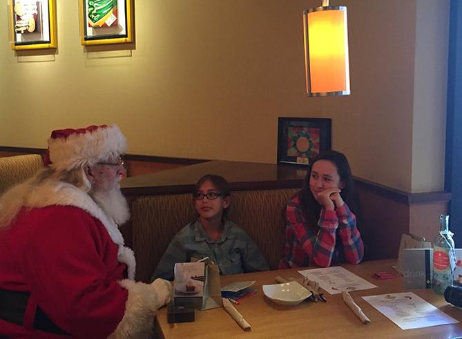 Santa having breakfast