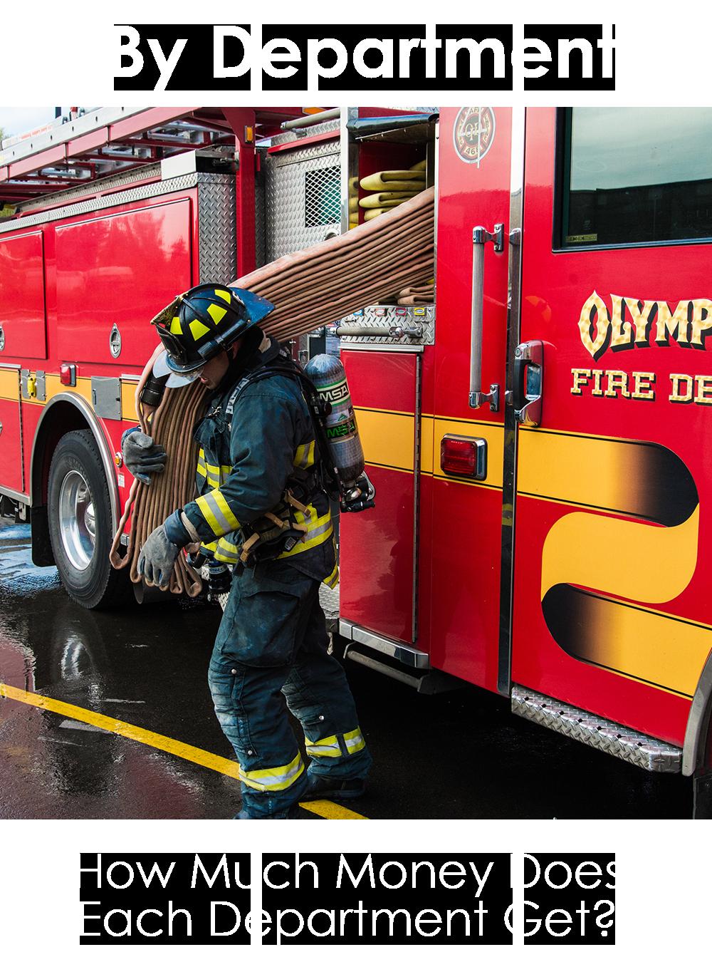 Firefighter pulling hose off truck