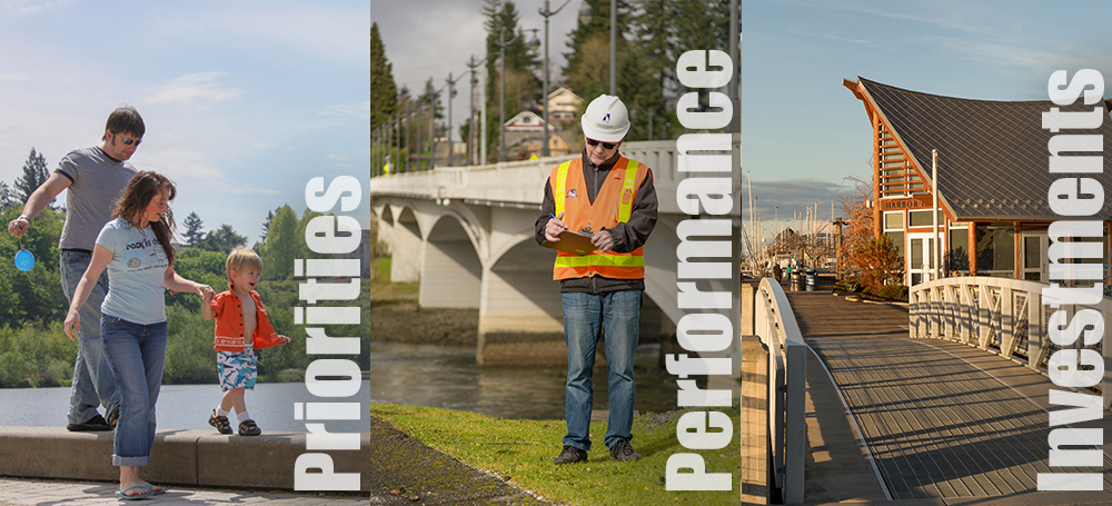 Collage: Family walking child, Worker inspecting bridge, Harbor House at Percival Landing