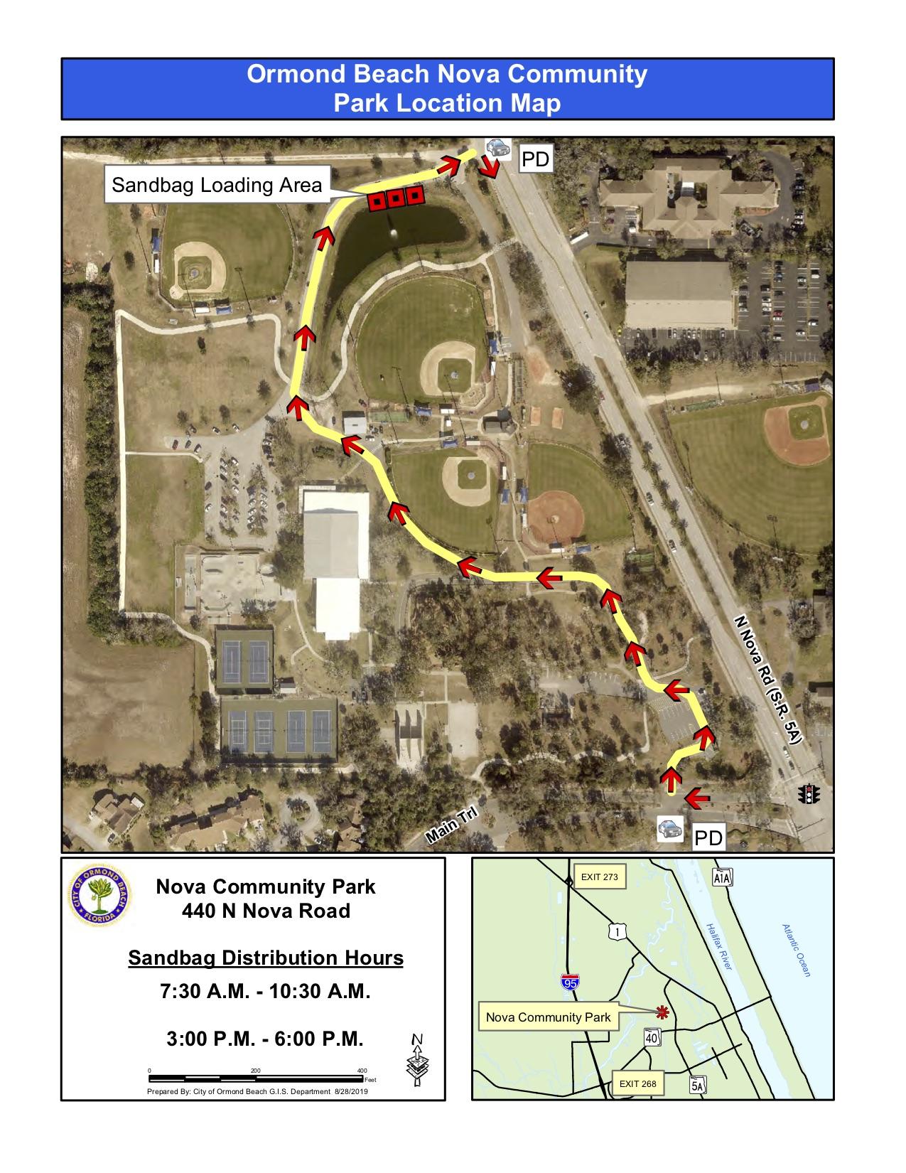 ormond beach sandbag route map