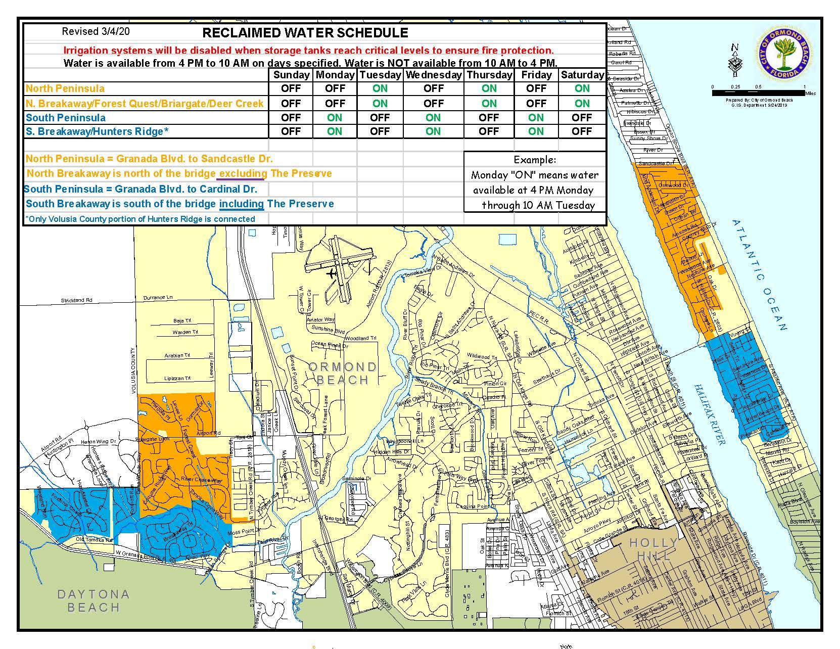 reclaimed water schedule map