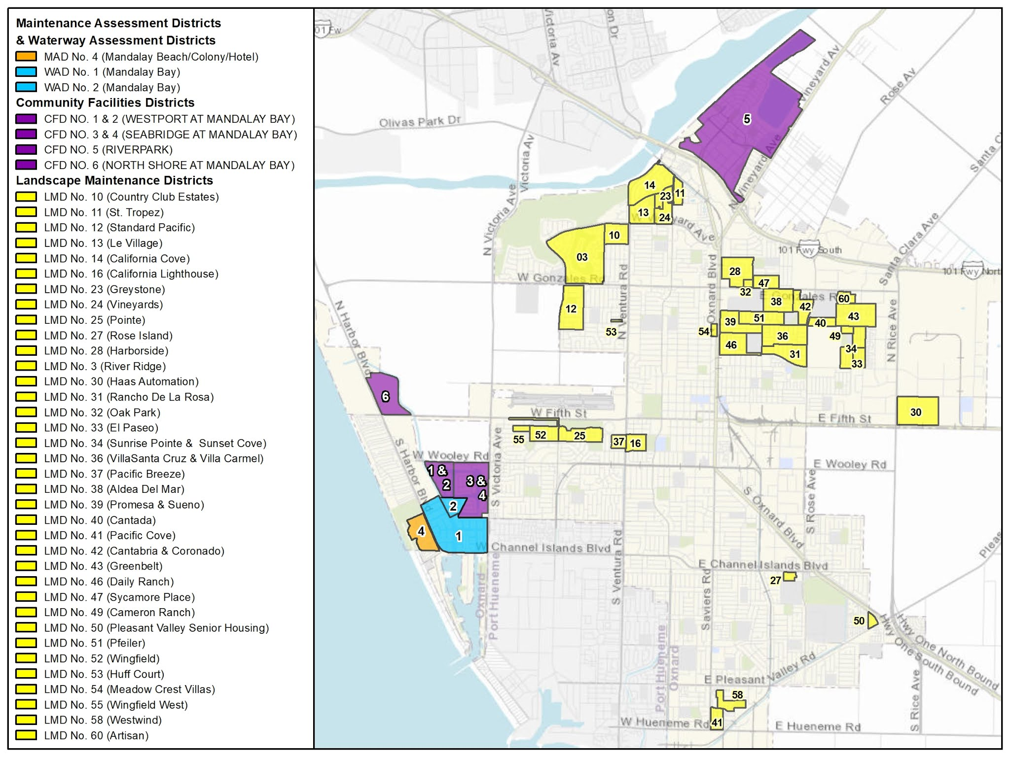 Map of Oxnard's Special Assessment Districts