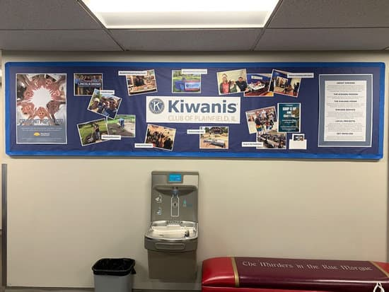 Library's community board featuring Kiwanis