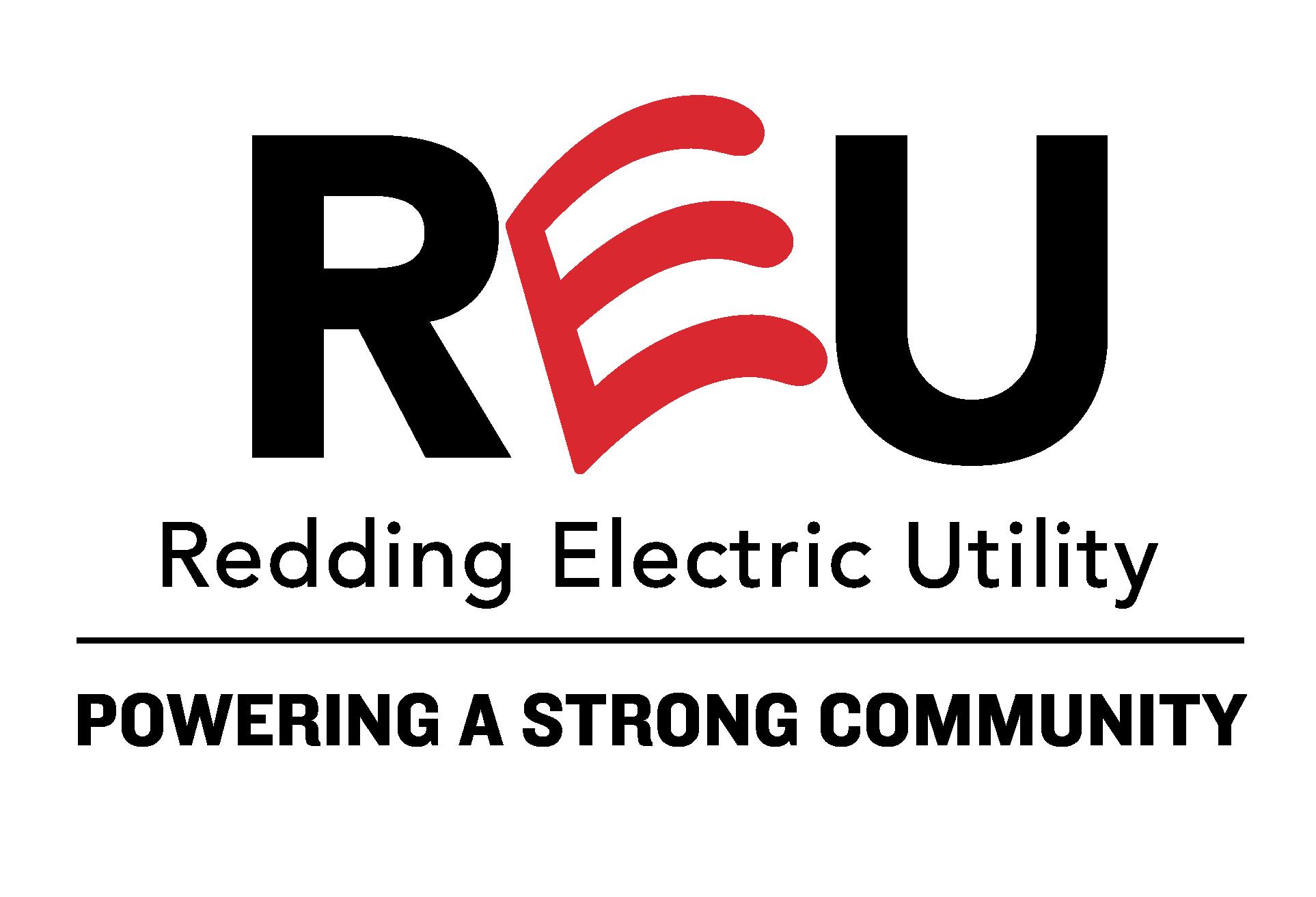 REU: Redding Electric Utility Logo: powering a strong community
