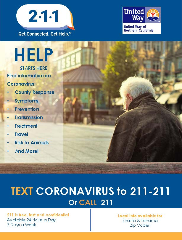Call 211 or Text 211-211 with questions