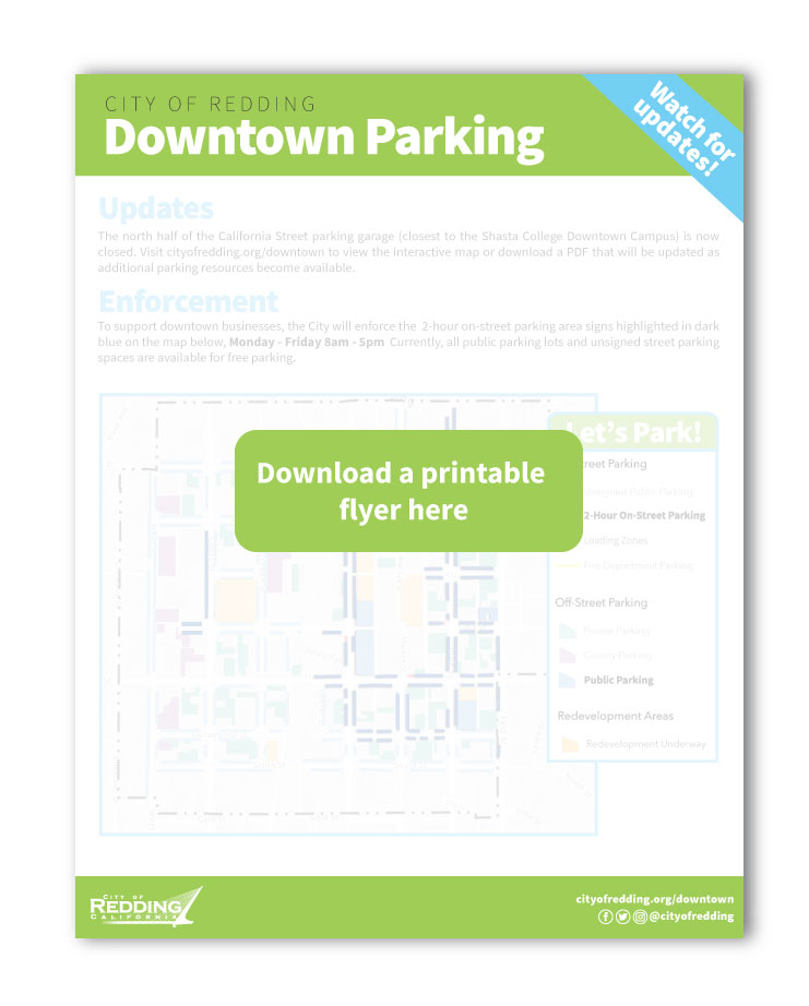 a link to a flyer showing current parking available