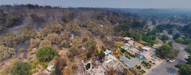 aerial picture of land damaged by fire