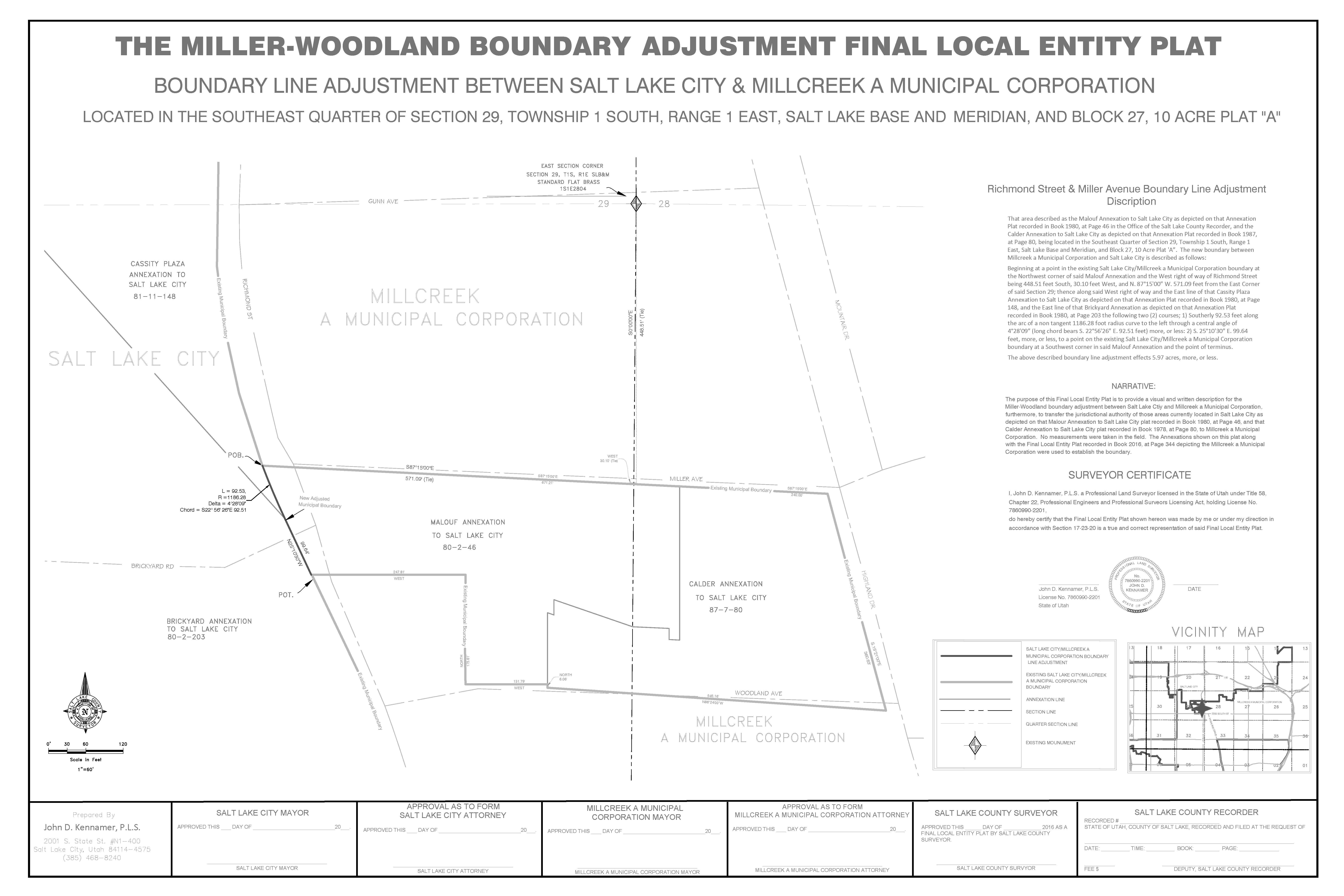 Draft Plat map for Miller, Woodland boundary adjustment