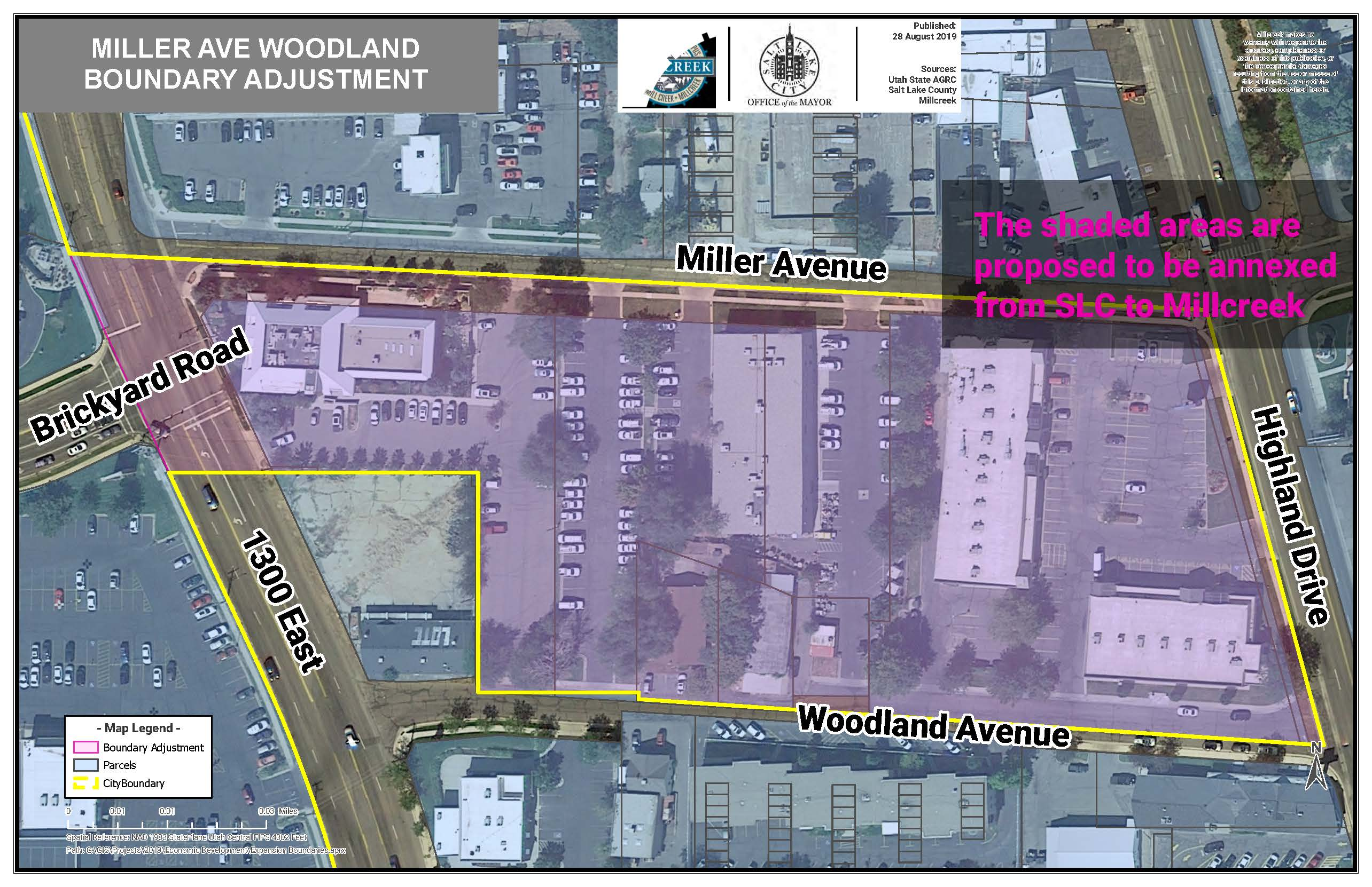 Miller Ave and Woodland Boundary map