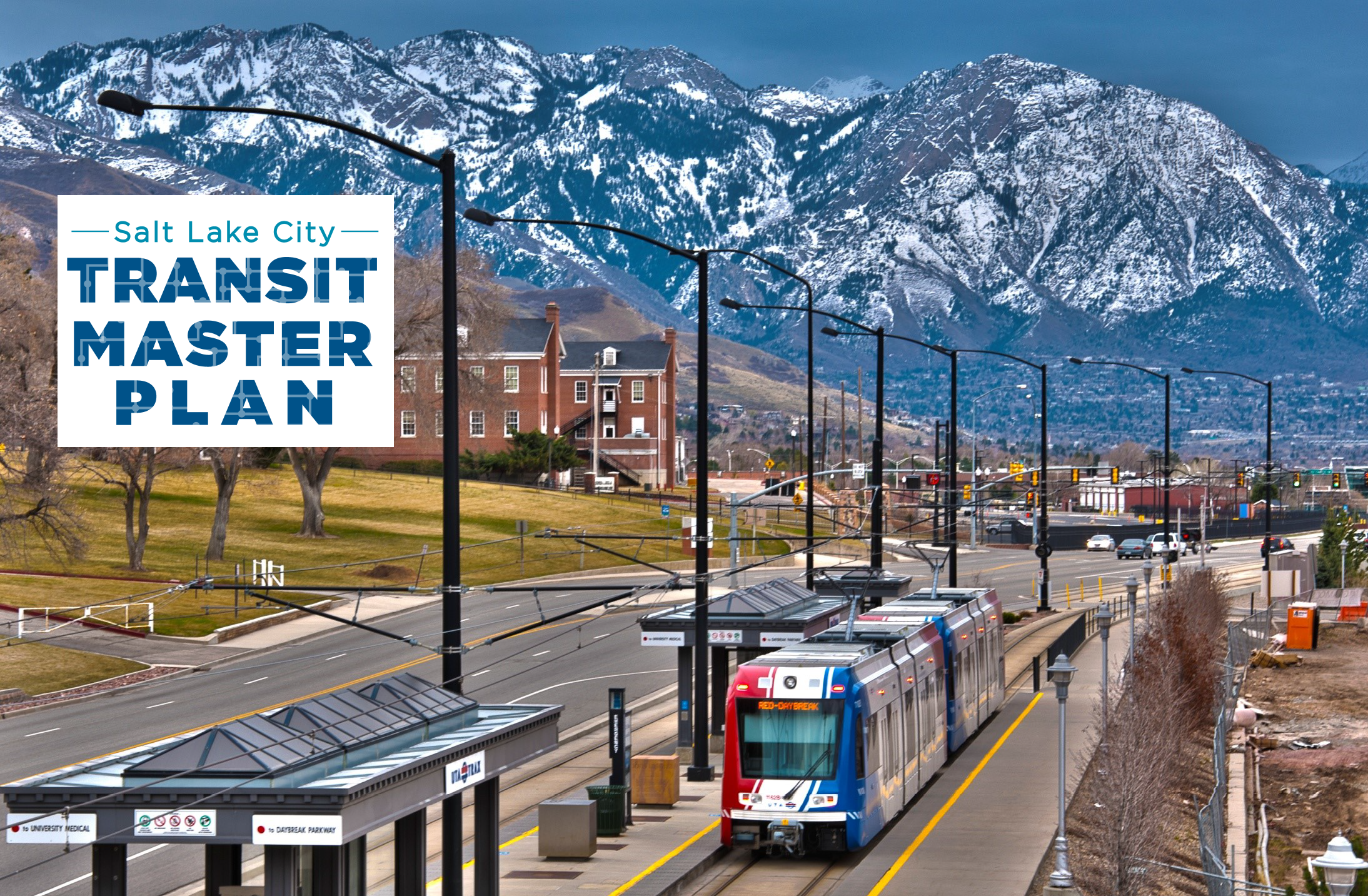 Cover photo of Salt Lake City's Transit Master Plan, featuring a Trax station in front of the mountains