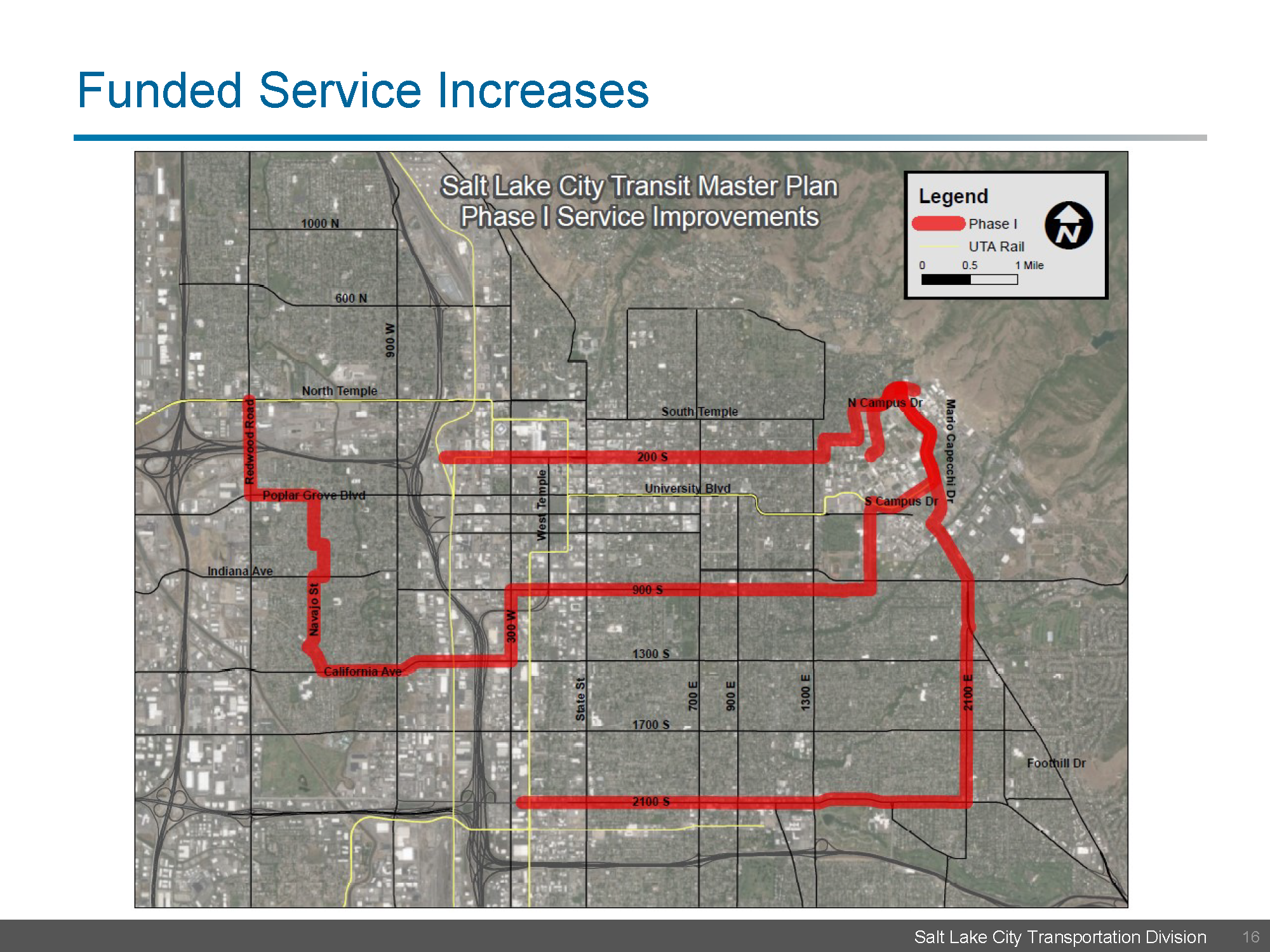 Map showing routes funded for service increases along 200 South, 900 South, and 2100 South