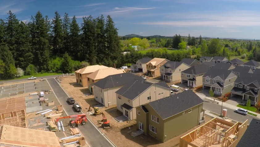 Aerial view of a subdivision development
