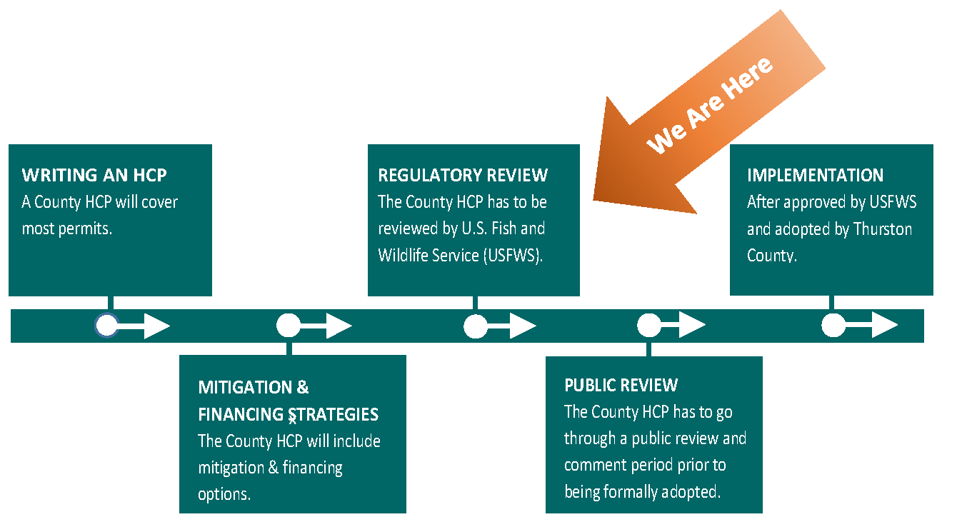 Timeline of milestones for the HCP; currently at regulatory review