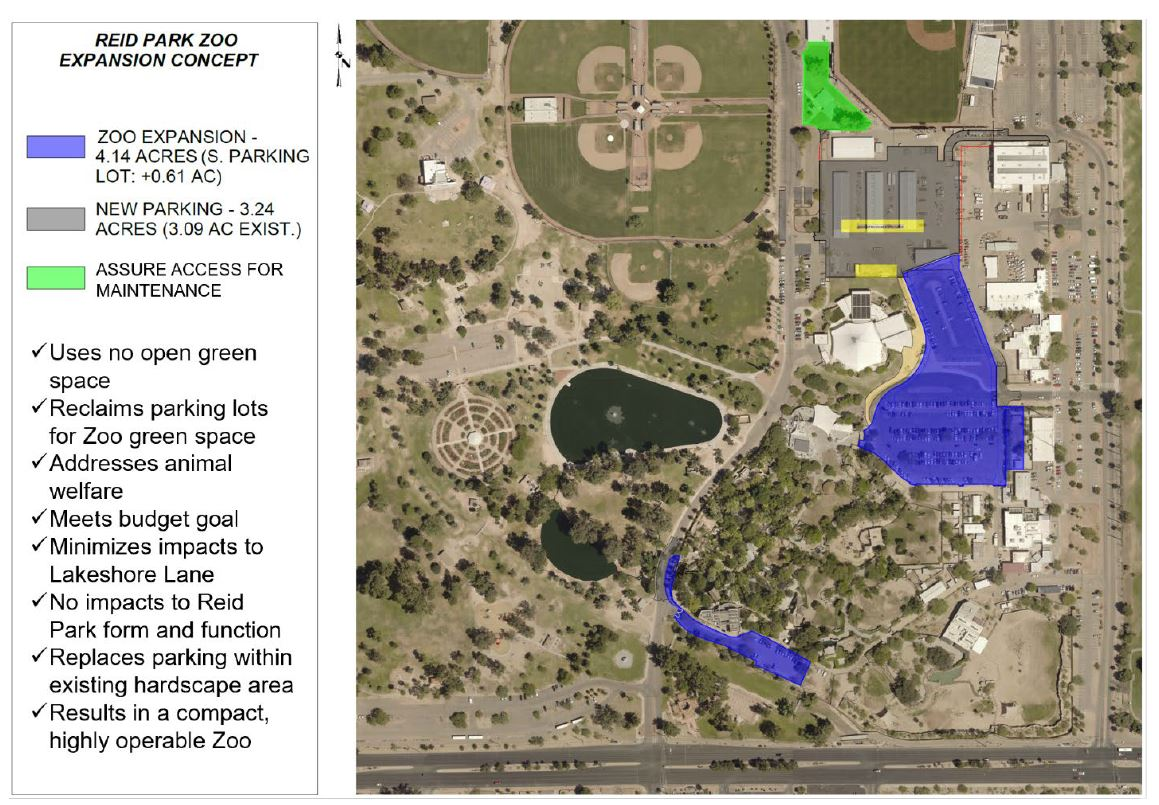 Updated plan for the zoo expansion into the parking lot of the Zoo and ARC, new parking located in maintenance compound.