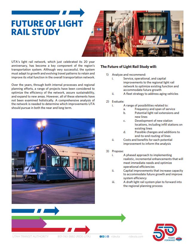 Future of Light Rail Study Fact Sheet