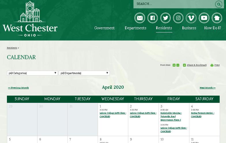 West Chester Community Calendar